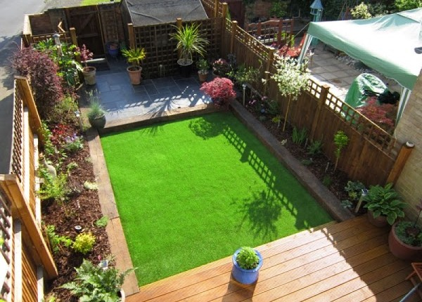 overhead image of our artificial grass installation at a South Wales clients garden